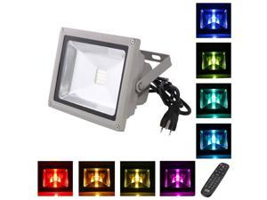 LOFTEK 30W Outdoor Security RGB LED Floodlight, High Powered RGB Color Change(16 Different Color Tones and Four modes), ...
