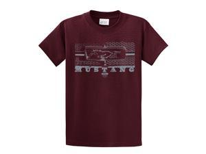 Ford T-Shirt Mustang Grill Legend Honeycomb Grill and Emblem-maroon-xxxl