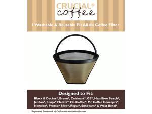 Washable & Reusable Coffee Filter # 4 Cone Fits Black & Decker, Braun, Cuisinart, GE, Hamilton Beach, Jerdon, Krups, Melitta, ...