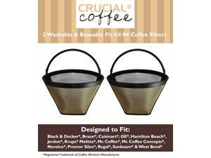 2 Washable & Reusable Coffee Filters # 4 Cone Fit Black & Decker, Braun, Cuisinart, GE, Hamilton Beach, Jerdon, Krups, Melitta, ...