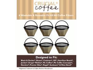 6 Washable & Reusable Coffee Filters # 4 Cone Fit Black & Decker, Braun, Cuisinart, GE, Hamilton Beach, Jerdon, Krups, Melitta, ...