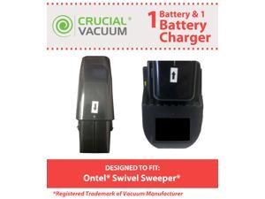 Crucial Vacuum High Capacity Black Vacuum Battery & 1 Battery Charger Fit Ontel Swivel Sweeper G1 & G2&#59; Compare to Part # ...