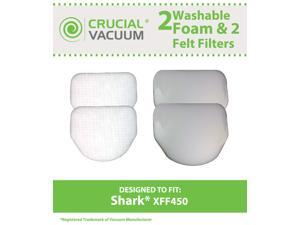 4 Shark NV450 Washable Felt & Foam Filter Kit, Part # XFF450