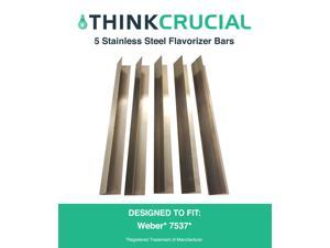 "5 Long Lasting Stainless Steel Flavorizer Bars, Fits Weber Grills, Part # 7537, 22.5"" x 2.25"" x 2.375"", by Think Crucial"