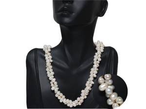 "Amazing White Double Twist Freshwater Pearl Necklace 18"" Pearls:6-7MM"