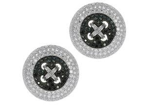 Sterling Silver Handset Black Spinel Micropave High Quality Round Cufflinks