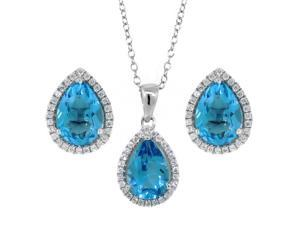 6.00 Ct 10X7mm Blue Topaz Pear Shape Pendant Earrings Sterling Silver Set 18""
