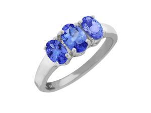 1.62 Ct 3-Stone Tanzanite .925 Sterling Silver Ring New