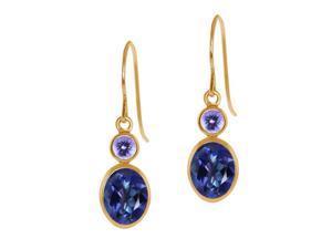 2.14 Ct Oval Tanzanite Blue Mystic Topaz Blue Tanzanite 14K Yellow Gold Earrings