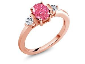 1.04 Ct Fancy Pink 925 Rose Gold Plated Silver Ring Made With Swarovski Zirconia