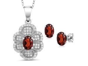 3.62 Ct Oval Red Garnet 925 Sterling Silver Pendant Earrings Set