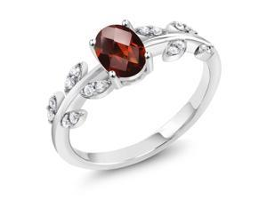 1.01 Ct Oval Checkerboard Red Garnet 925 Sterling Silver Ring
