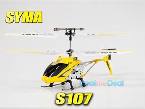 Syma S107G Mini Metal Frame 3.5CH RC Helicopter w/Gyro and LED Lights-Yellow