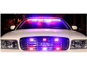 54 LED Car/Truck Strobe Emergency Warning Light for Deck Dash Grill Blue/Red