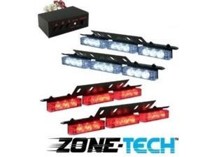 36 X Ultra Red and White LED Emergency Warning Use Flashing Strobe Lights Bar for Windshield Dash Grille