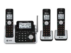 AT&T CL83301 / CL83351 DECT 3 Handset Cordless Phone 6.0 Cordless Phone, Black/Silver With Digital Answering System & Wall ...