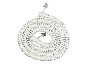 25 Foot Telephone White Coil Cord For At&t Phones (25 Ft. Length)