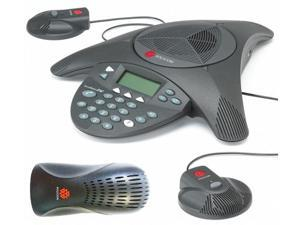 Polycom SoundStation 2 EX 2200-16200-001 Corded Conference Phone with EX Microphones 2200-16155-001