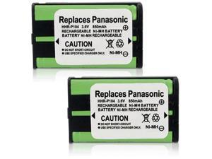 New Replacement Battery HHR-P104 2-PACK for Panasonic Cordless Phones P104A Ni-MH
