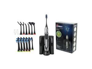 Pursonic S520BZ Sonic movement Rechargeable Electric Toothbrush W/ BONUS 12 Brusheads 2 Tongue cleaners, 2 interdental brush heads and 2 floss holders