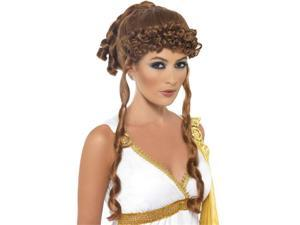 Sexy Greek Goddess Roman Helen of Troy Brown Ponytail Wig