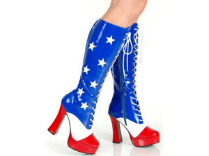 Patriotic American Flag Platform Costume Boot