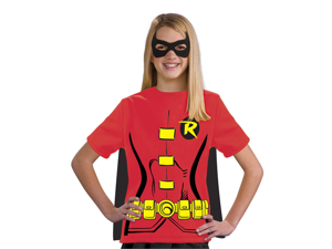 Kids Girls Robin Batman Halloween Costume Tee Shirt Mask & Cape