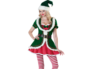 Sexy Santa Helper Elf Deluxe Velvet Christmas Costume