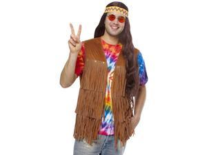 Mens 60s 70s Hippie Costume Brown Fringe Vest