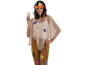 Adult Hippie Flower Child 70s Outfit Halloween Costume