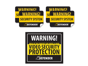 Defender Indoor Video Security Surveillance System Deterrent Warning Sign 4 Window Warning Stickers