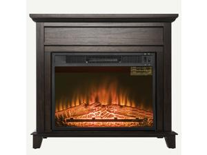 "AKDY 32"" Brown Wooden Finish 3D Flame Freestanding Electric Fireplace Stove Heater w/ Log Bed"