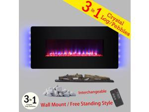 "AKDY 36"" Freestanding Wall Mount Convertible 22 Setting Electric Fireplace Stove Heater w/ Remote"