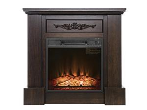 "32"" Freestanding Insert Brown Wooden Finish Electric Fireplace Heater Stove"