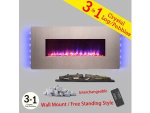 "AKDY 36"" Freestanding & Wall Mount Convertible 22 Setting Level Electric Fireplace Stove Heater"