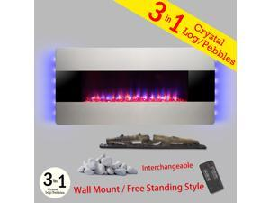 "AKDY 36"" Wall Mount & Freestanding Convertible Multi-Setting Level Electric Fireplace Stove Heater"