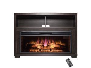 "AKDY 44"" Brown Wooden Mantel 3D Flame Freestanding Insert Electric Fireplace Stove Heater w/ Remote Control"