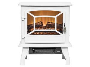 "AKDY 17"" White Finish Freestanding Portable 3D Flame 2 Setting Level Electric Fireplace Heater"