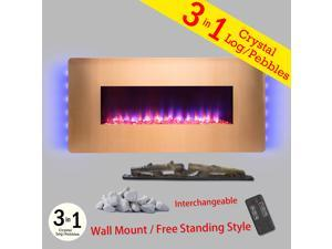 "AKDY 36"" Freestanding Wall Mount Interchangeable Electric Fireplace Firebox w/ Remote Control"
