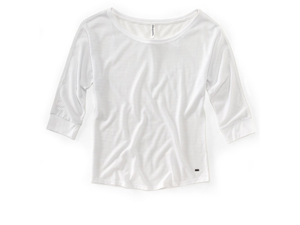 Aeropostale womens metallic 3/4 sleeve top tee t-shirt - 102 - XS