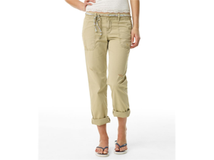 Aeropostale womens full length khaki chino pants w/ belt - Beige - 1/2