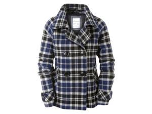 Aeropostale Juniors Plaid Pea Coat blackblue XS