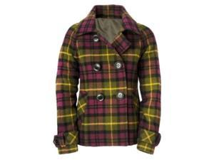 Aeropostale Juniors Plaid Pea Coat grapejuicepurple M