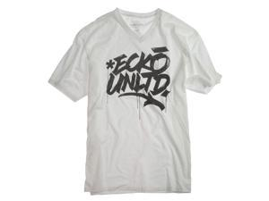 Ecko Unltd. Mens Chisel Chest V-neck Graphic T-Shirt blchwhite XL