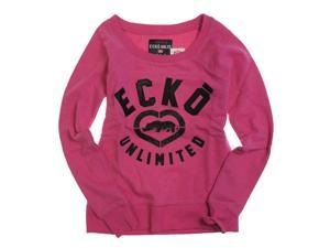 Ecko Unltd. Womens French Terry Satin Knit Sweater berry XS