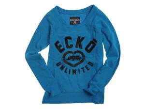 Ecko Unltd. Womens French Terry Satin Knit Sweater bluejewel L