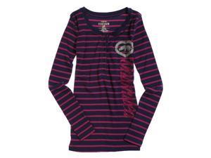Ecko Unltd. Womens L/s Stripe Henley Shirt eggplpur L