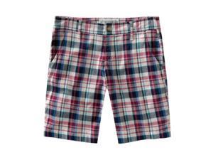 Aeropostale Juniors Plaid Slant Pocket Casual Bermuda Shorts navyblue 1/2