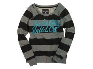 Ecko Unltd. Womens Stripe Glitter Heart Rhino Knit Sweater black L