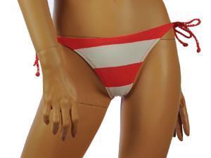 Aeropostale Womens striped side-tie swim bottoms - Coral - XS